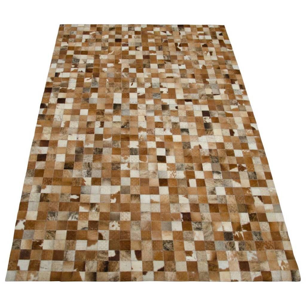 Vloerkleed Leren Blokjes Van Bruine Tinten Vacht Leer Handgemaakt Karpet Beat Street Luxe Kleed In Warme Vachtkleuren