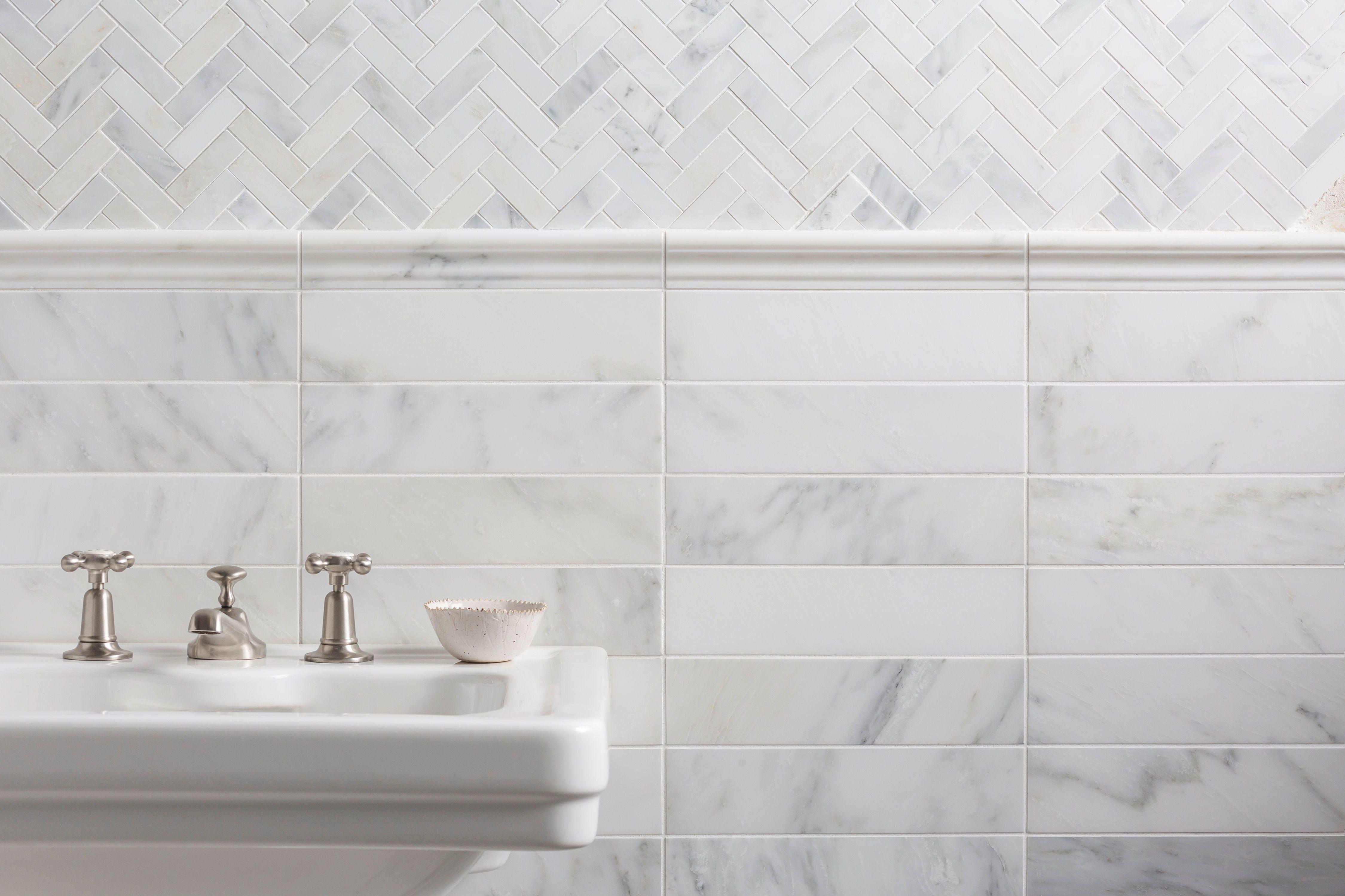 Alsace honed marble herringbone mosaic tile in 2020