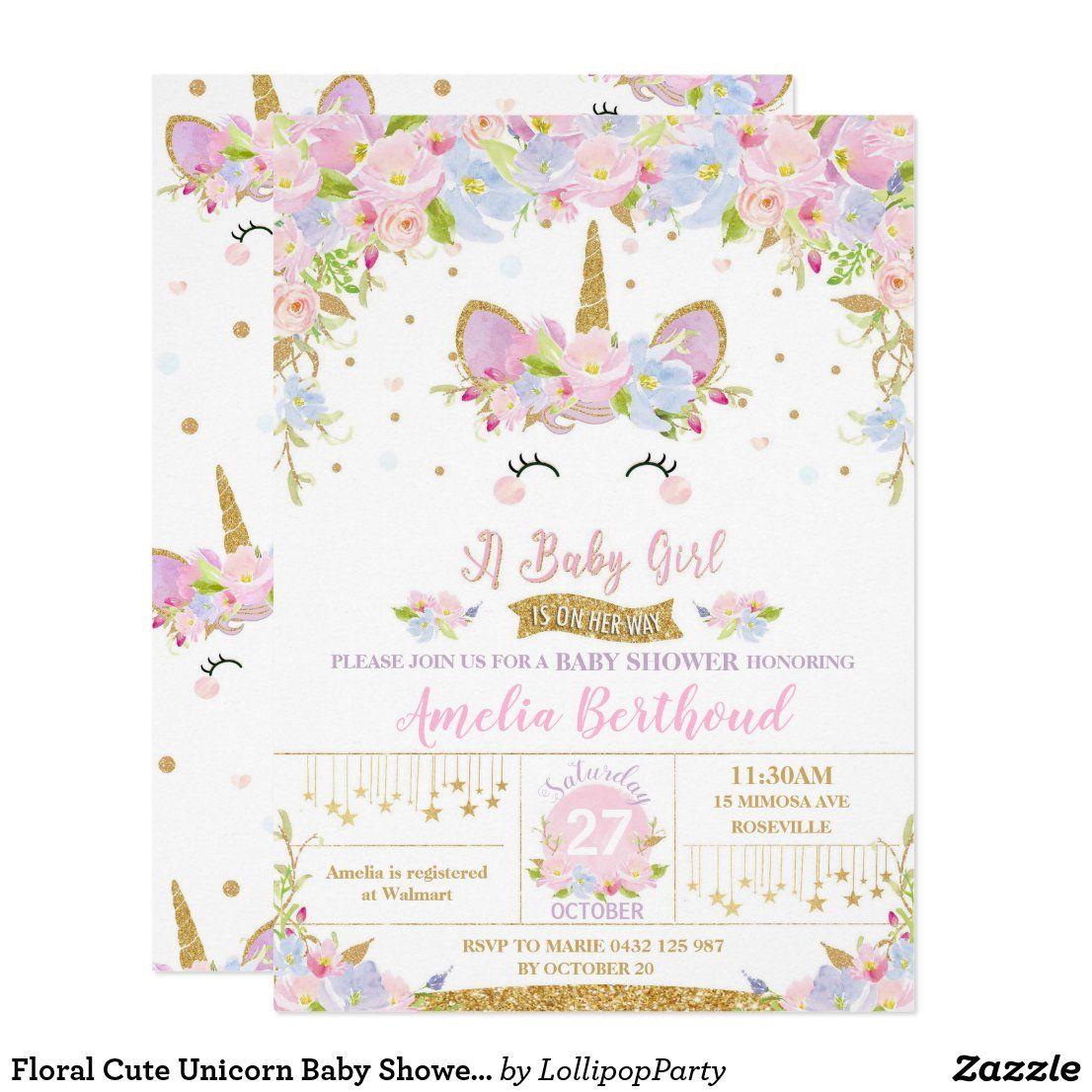 Floral Cute Unicorn Baby Shower Invitation Girl Zazzle