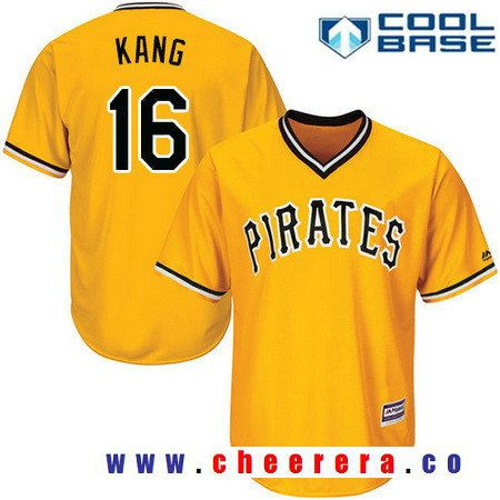Men's Pittsburgh Pirates #16 Jung-ho Kang Yellow Pullover Stitched MLB Majestic Flex Base Jersey