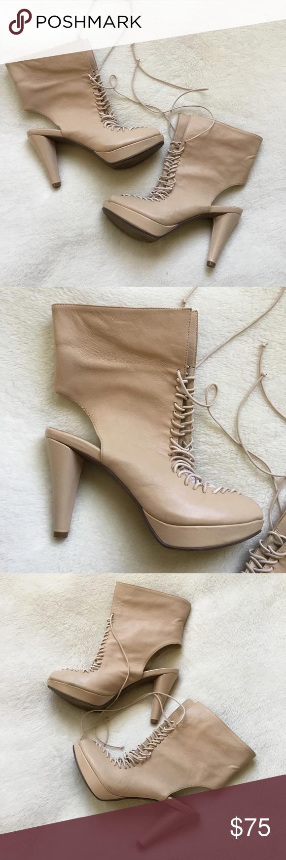 6663d12e38a Jeffrey Campbell beige nude platform boots 7.5 Fabulous beige nude leather  platform boots from Jeffrey