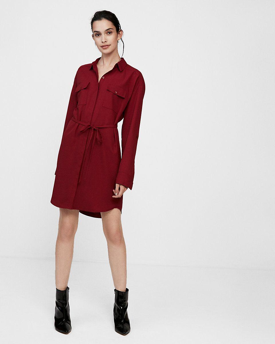 Express long sleeve pocket shirt dress