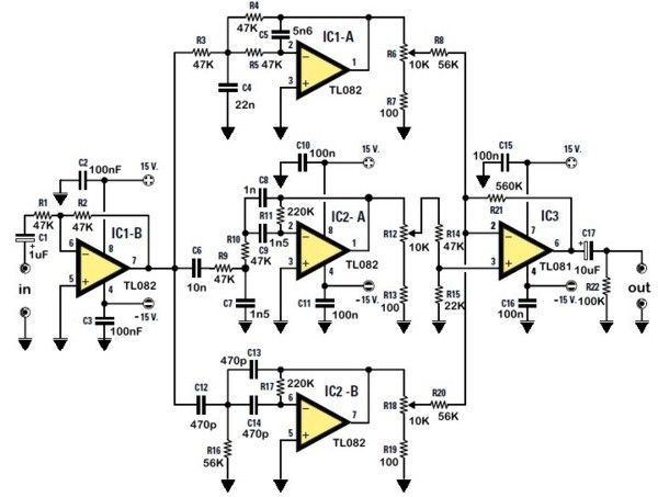 The electronic schematic of the Stereo Tone Control