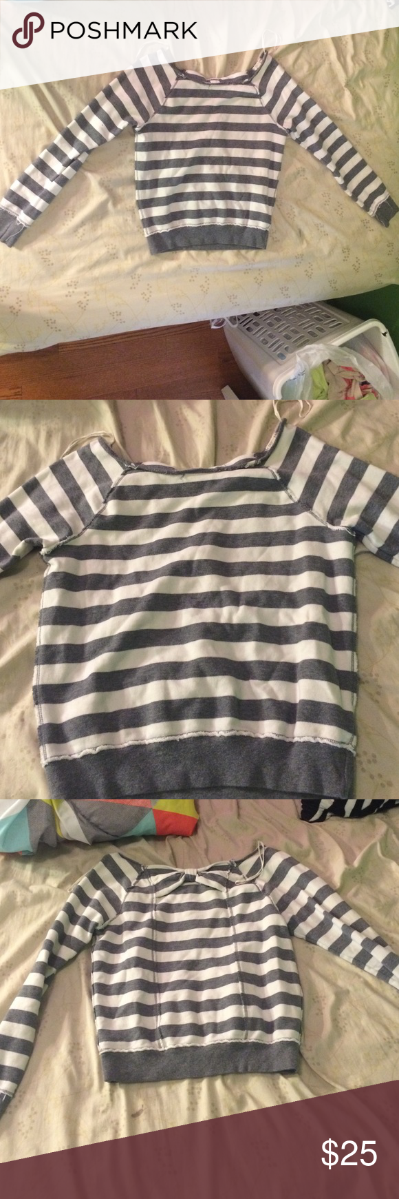 Sweater/shirt Grey and white stripes. Very comfortable, adorable, not tight, warm I LOVE H-81 Tops Sweatshirts & Hoodies