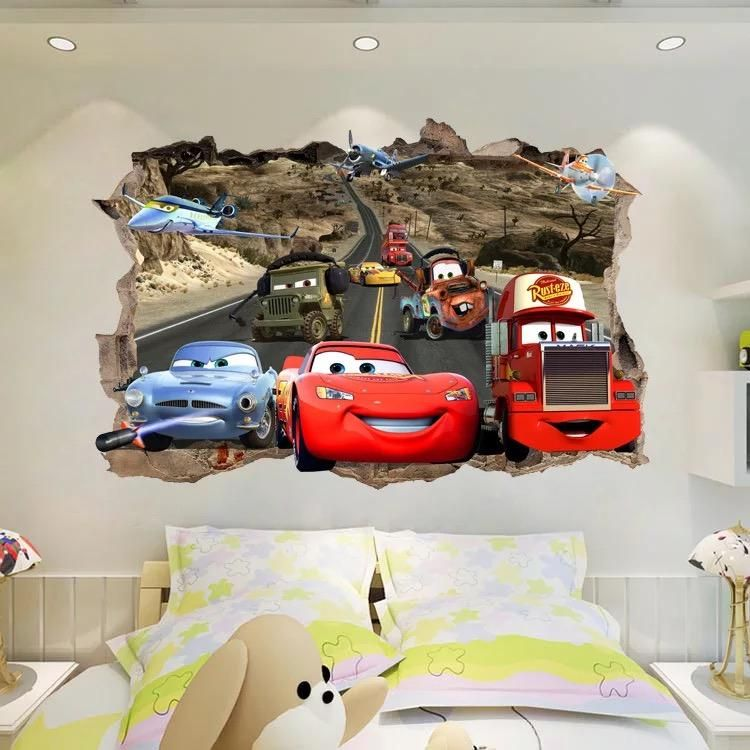 Disney Cars Kids Room Wall Decal Party Theme 3D Reusable Large Stickers