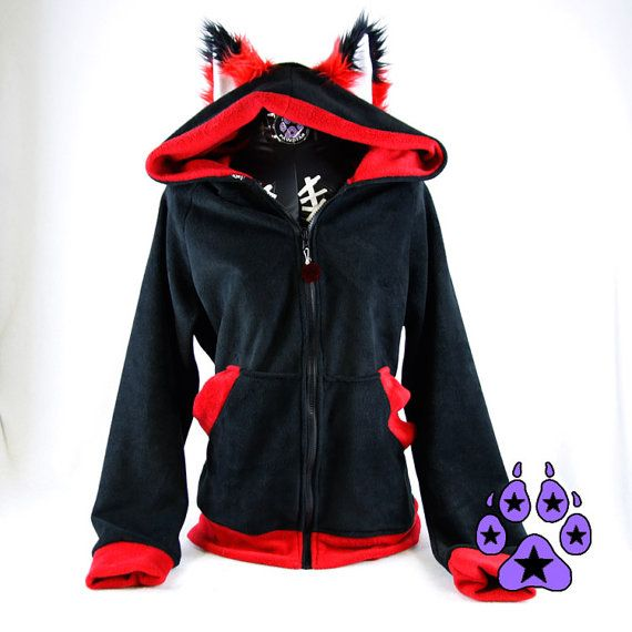 79f384912a978 Pawstar FOX YIP Hoodie - Furry Ears Jacket Cosplay costume Green Lime Blue  Turquoise jacket coat costume apparel Orange Yellow Red Pink 6150