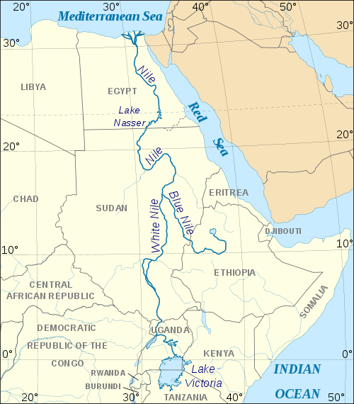 Blue and White Nile River  Imaged courtesy Wikipedia Commons