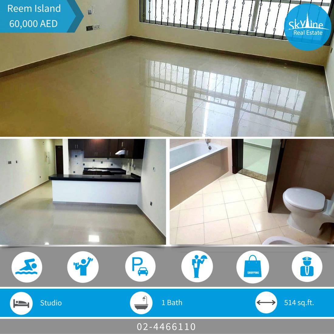 Affordable studio for rent in Hydra Avenue C6 (Al Reem Island) - Abu Dhabi, price: 60K.. Read more http://goo.gl/RuzREb