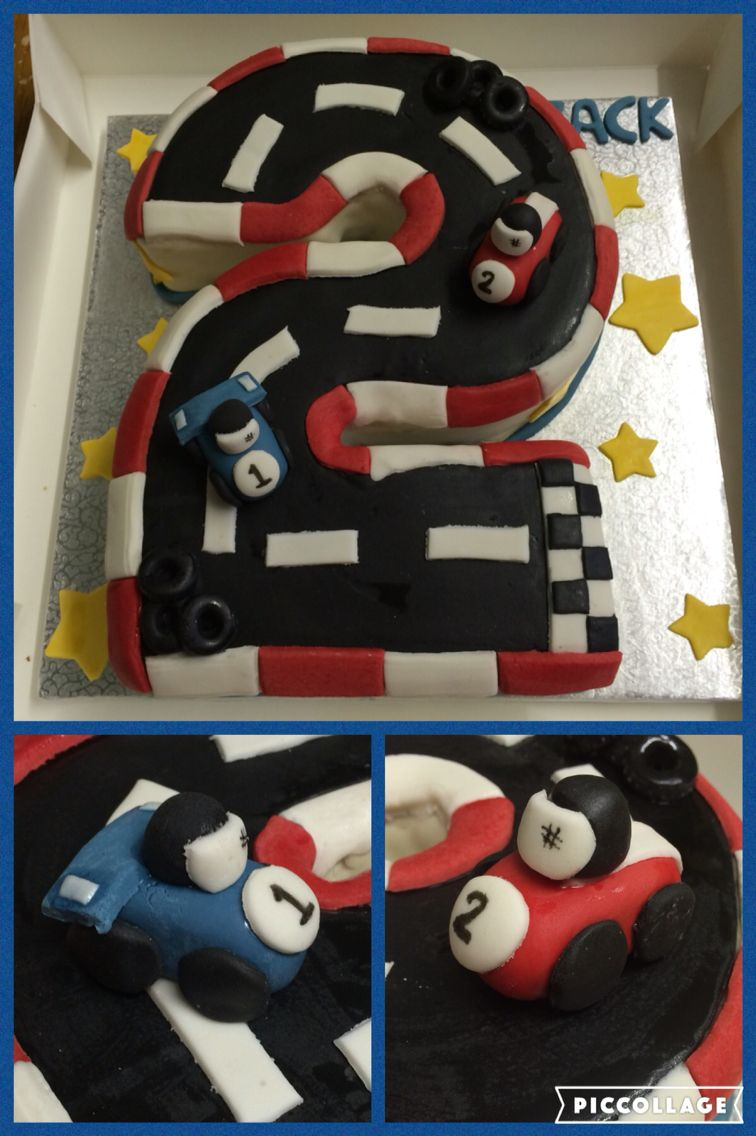Racecar Track Cake Shaped Like The Number 2
