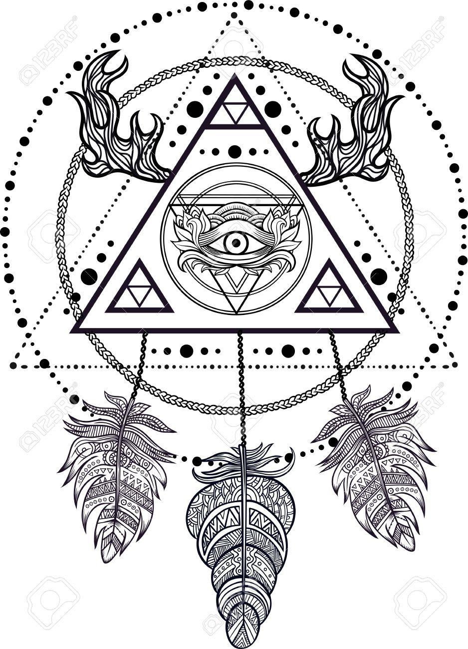 78803b583 Blackwork tattoo flash. Dreamcatcher with third eye, feathers and deer  antlers. Tattoo design, mystic symbol. New school dotwork. Boho hipster  design.