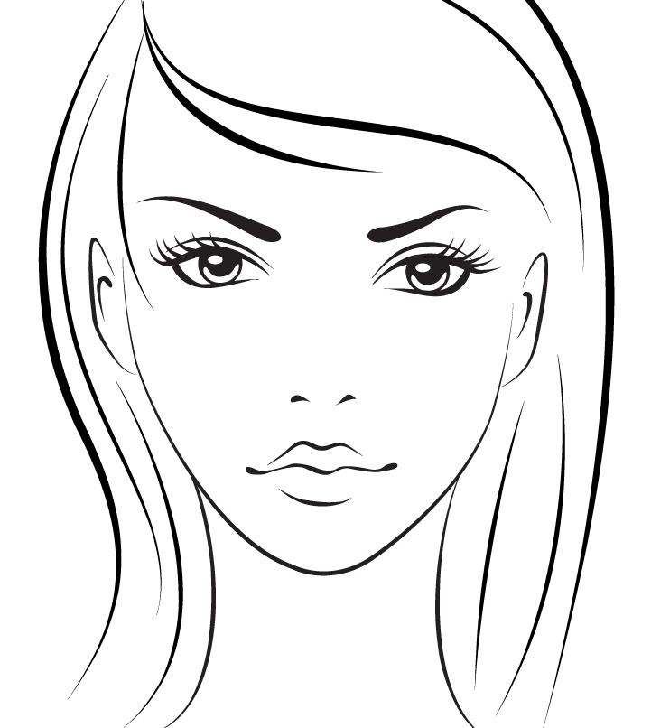 Раскраска лицо девушки для макияжа распечатать