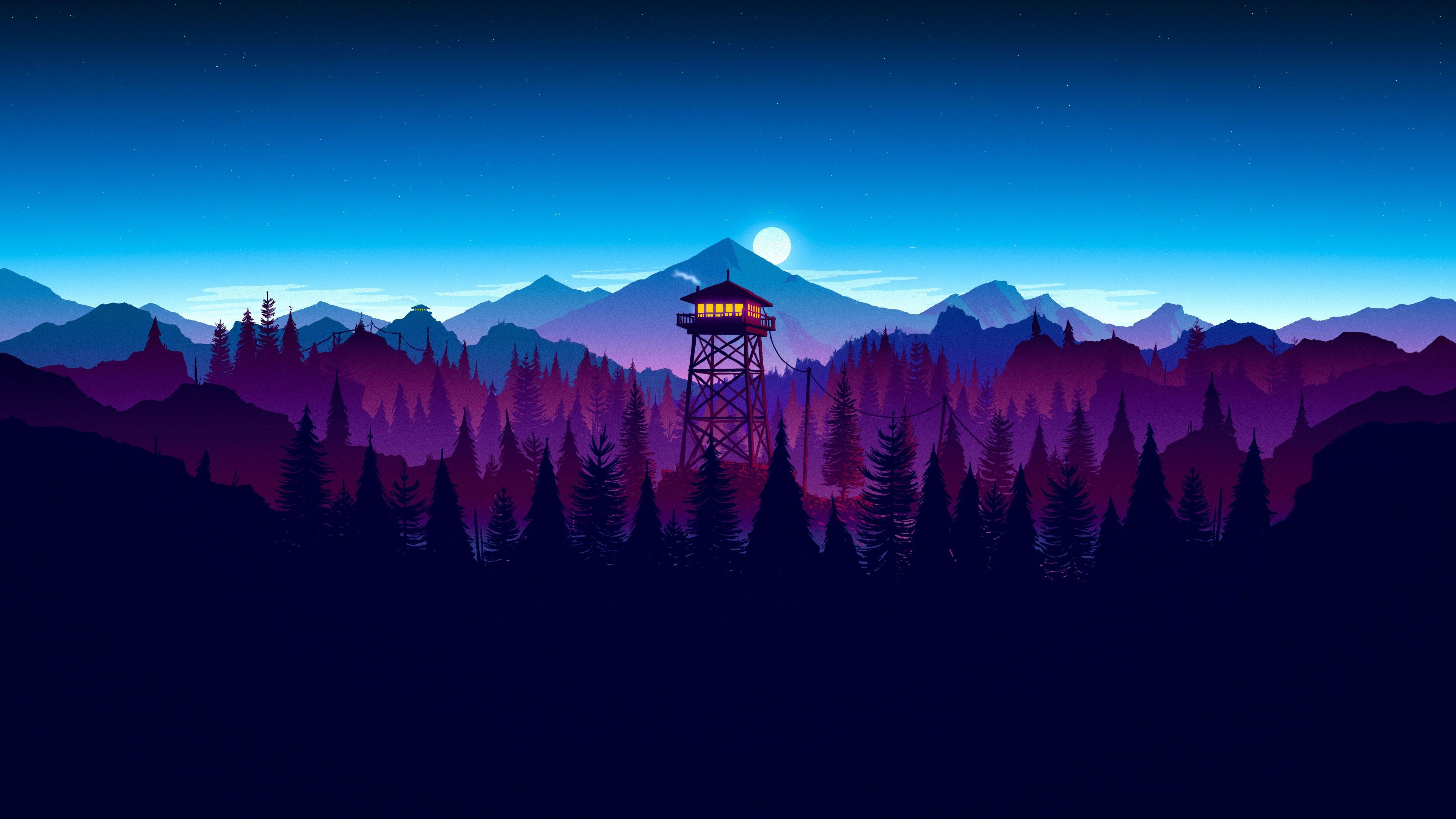 General 3840x2160 Firewatch Night Forest Sunset Artwork Digital Wallpaper Gaming Wallpapers