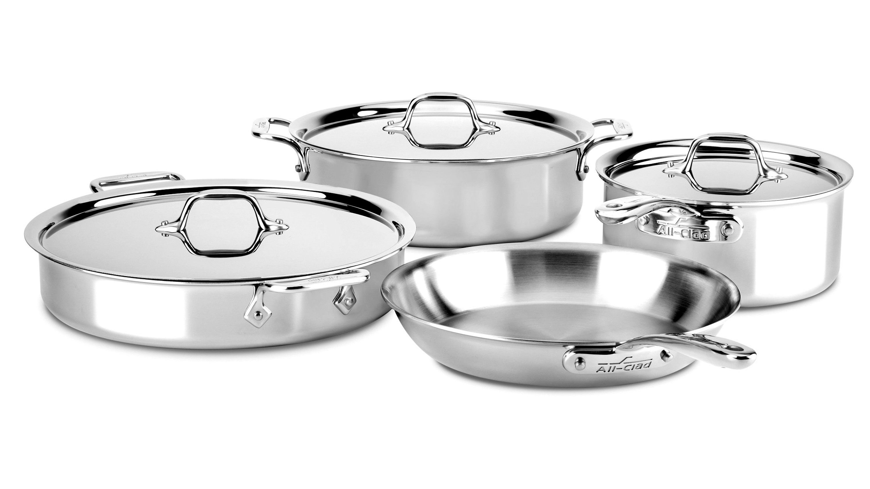 All Clad D3 Stainless Compact Cookware Set 7 Piece Cutlery And More In 2021 Cookware Set Safest Cookware Dishwasher Safe Cookware All clad 7 piece set