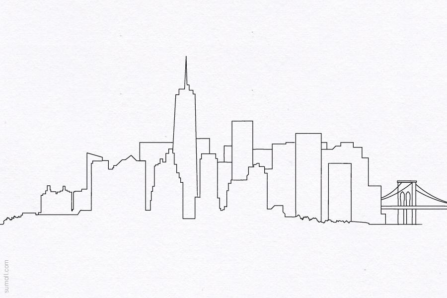 New York City Skyline Manhattan Brooklyn Bridge Wtc Freedom Tower Line Drawing Design Illustration Free Images Ma Skyline Drawing New York Drawing City Drawing