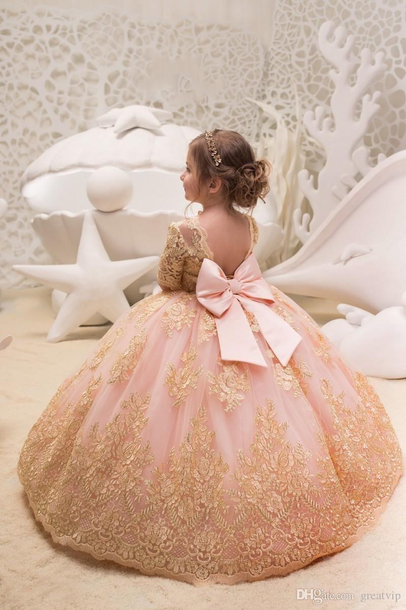 Blush pink ball gown flower girls dresses for weddings half