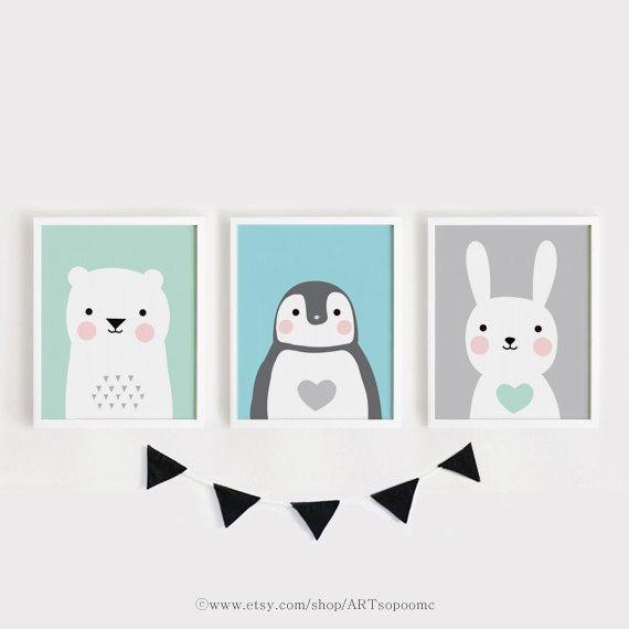 Printable Nursery Art Set Of 3 Poster Baby Room Wall Art Kids Room