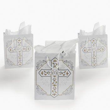 RELIGIOUS CROSS GIFT BAGS (1 DOZEN) - BULK
