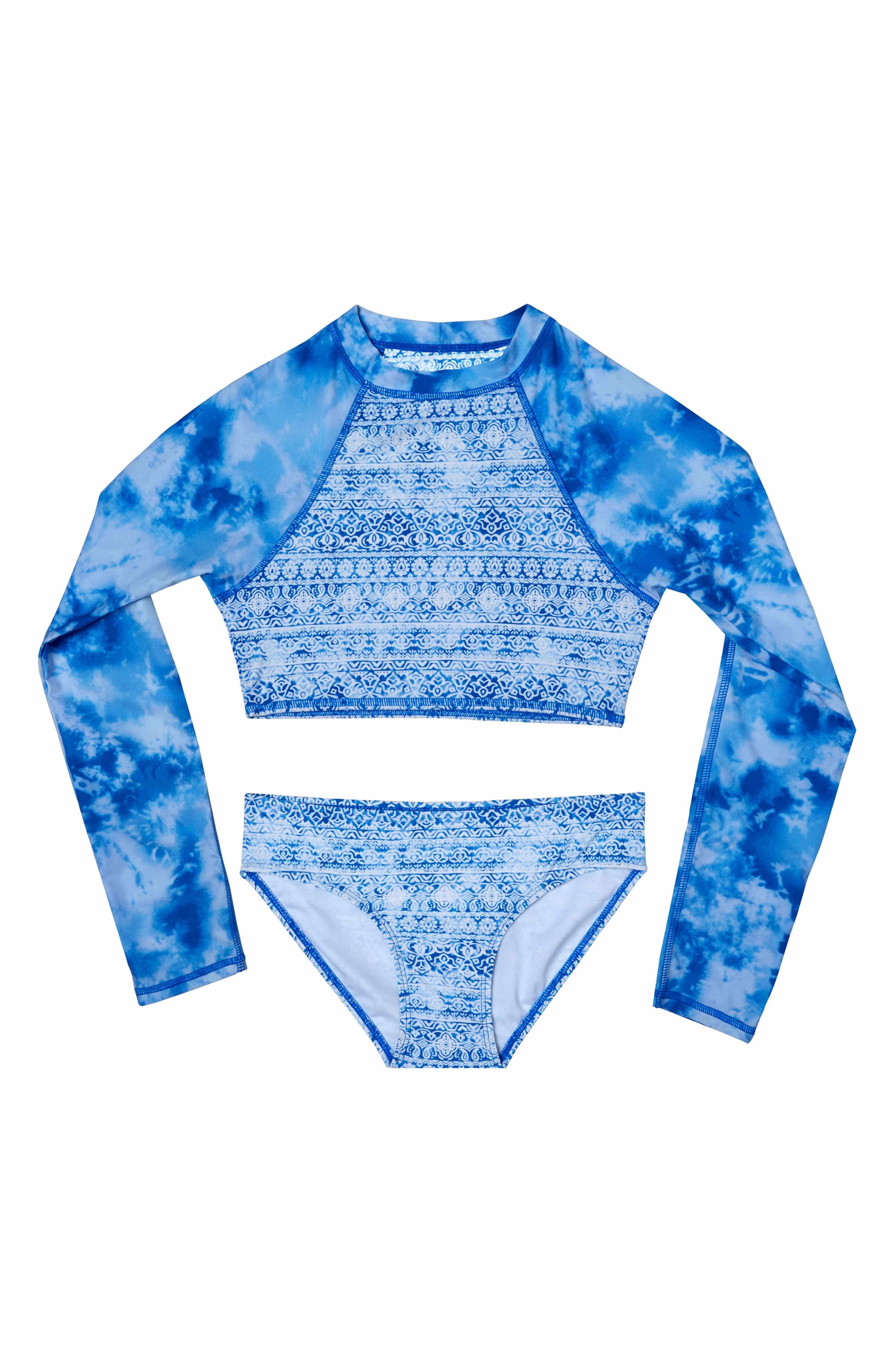 b5dfd12e3e401 Main Image - Gossip Girl Jeans Addiction Two-Piece Rashguard Swimsuit (Big  Girls)