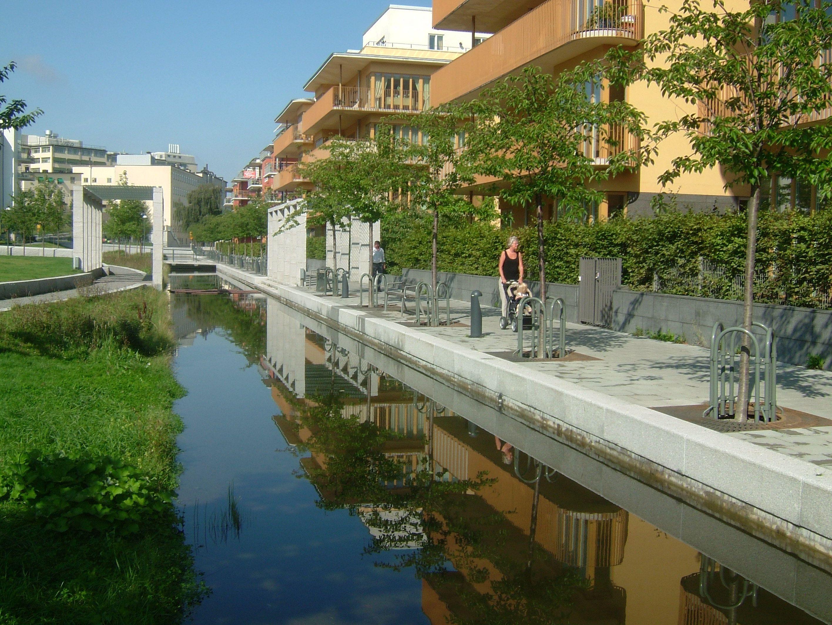 Storm water canal, Hammarby Sjöstad - Stockholm, Sweden