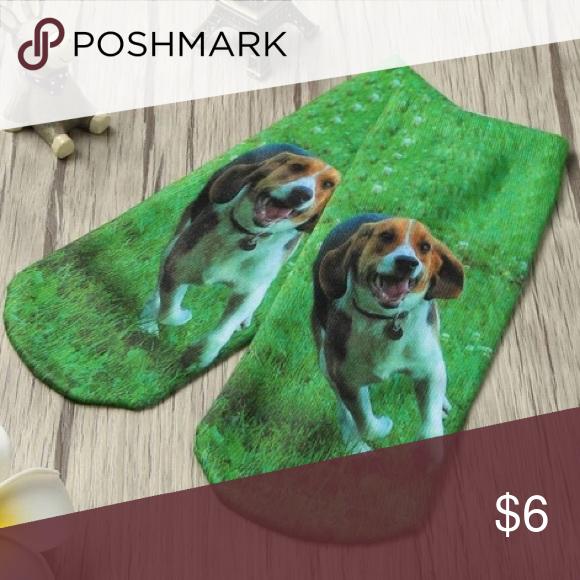 💚Green Beagle Socks💚 One pair of cute green ankle socks printed with a beagle. Accessories Hosiery & Socks