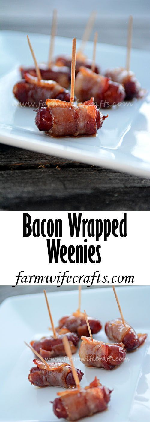 Bacon Wrapped Smokies {An Easy Party Appetizer} - The Farmwife Crafts #baconwrappedsmokies