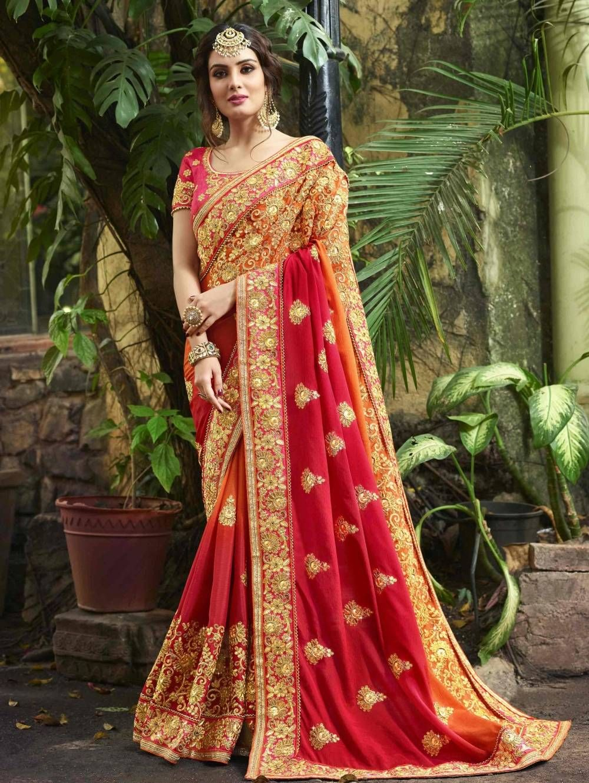 Spanish carmine red and orange art silk saree with zari embroidery