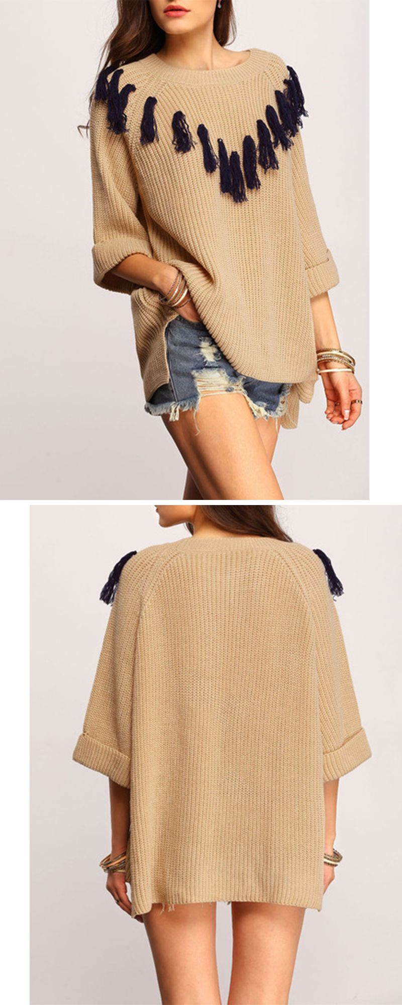 Perfect look for spring ! Love the accessories as well...Grey Crew Neck Contrast Fringe Sweater from shein.com