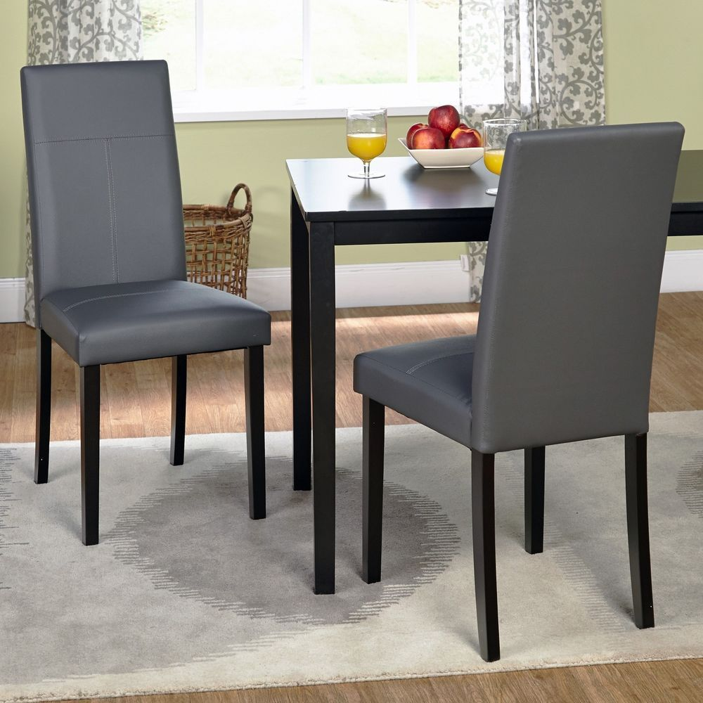 Parson Dining Chairs Contemporary Faux Leather Upholstery Seat 2