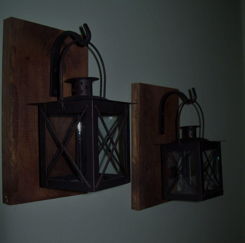 Hanging LANTERN SET Pair on Wood Board / Wrought iron hooks / Rustic lantern Home Decor Black lanterns Housewarming Gift Candle holder by RusticPleasures on Etsy