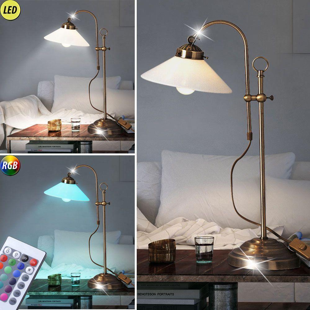 Büro LED Schreib Tisch Lampe RGB Fernbedienung Antik Messing Glas ...
