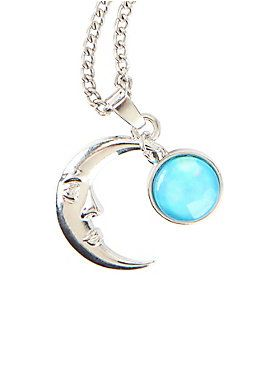 Blackheart crescent moon blue stone necklace aloadofball Image collections