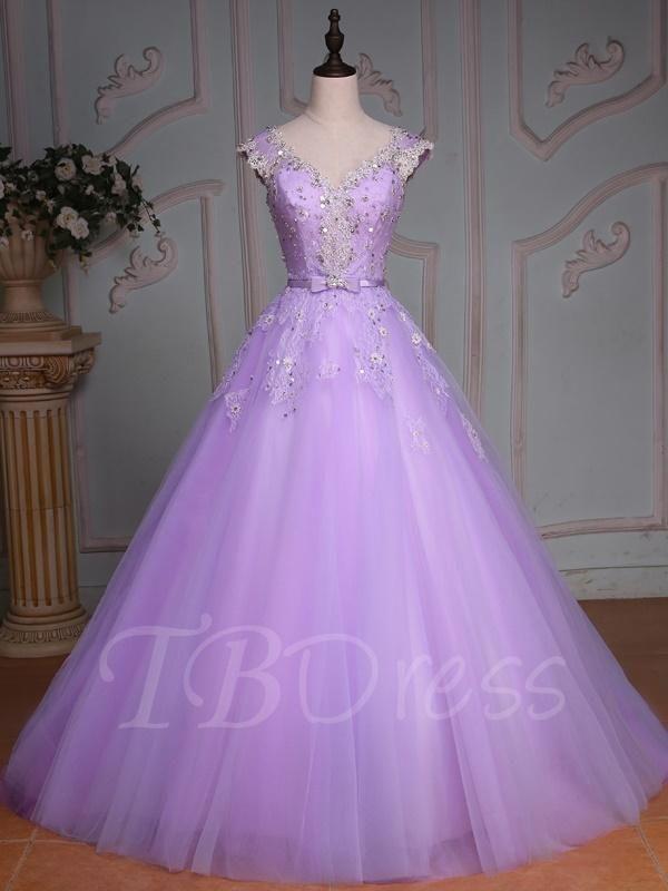 AdoreWe - TBDress V-Neck Ball Gown Cap Sleeves Beading Lace Sequins Floor-Length Quinceanera Dress - AdoreWe.com