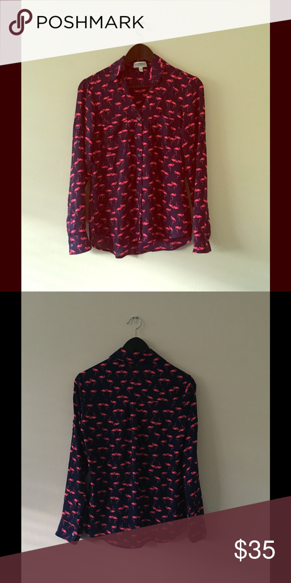 Express Portofino NWOT size Xsmall Super cute flamingo print express Portofino long convertible sleeves with roll tabs, buttoned cuffs. Never worn. Express Tops Blouses