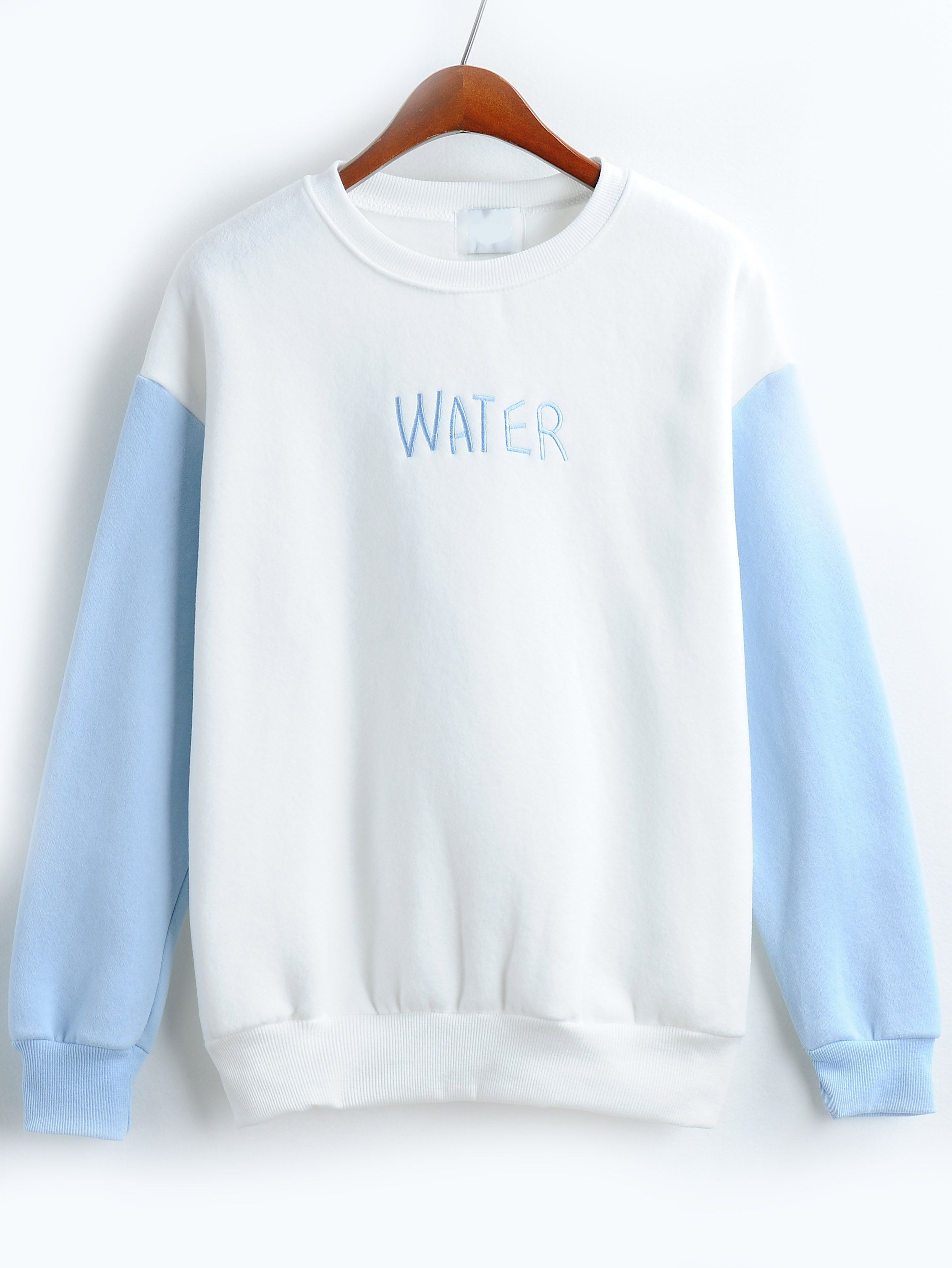 Letter Embroidered Loose Blue White Sweatshirt Hoodie Fashion Sweatshirts Trendy Hoodies [ 3020 x 2267 Pixel ]
