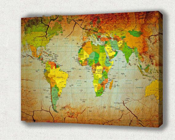 Map canvas print amazing vintage style world map perfect gift for map canvas print amazing vintage style world map perfect gift for christmas gallery wrapped canvas print ready to hang gumiabroncs Image collections