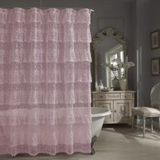 Priscilla Lace Shower Curtain Pink Bed Bath Beyond With
