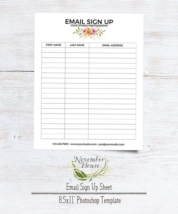 Email Sign Up Sheet Photography Forms Plus Studio Stationery - example sign in sheet