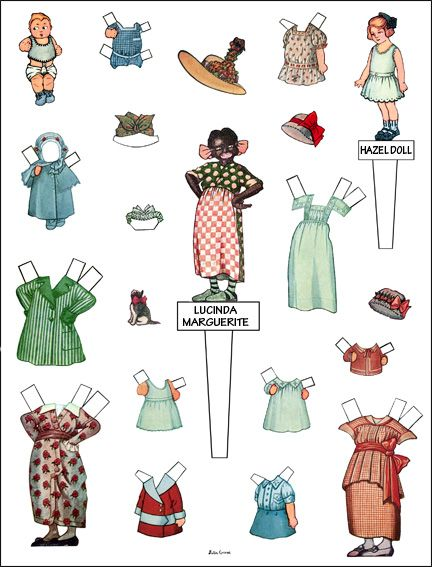 Baby, Hazel and Lucinda Marguerite the black housekeeper - paperdoll family - Original from 1014