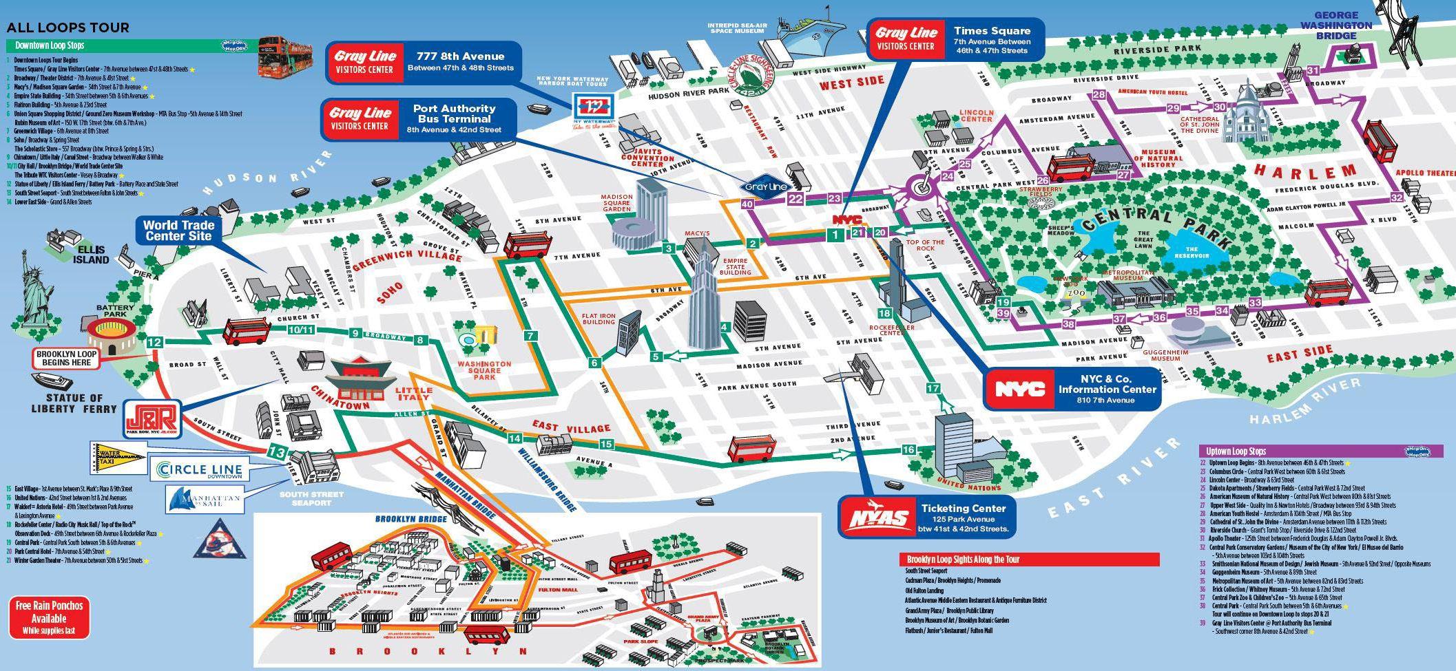 Hop On Hop Off Nyc Map Hop on hop off NY map | New york attractions, New york city map