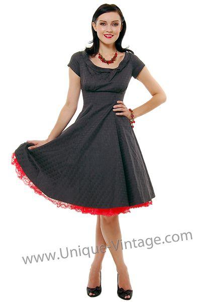 Heartbreaker 50 S Style Black Print Beverly Swing Dress Xs To Xl Unique Vin Unique Vintage Prom Dress Retro Swing Dresses Prom Dresses Vintage