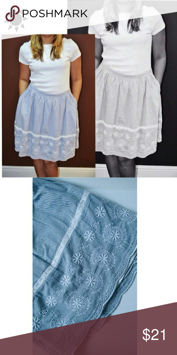 8ac63a9d8c6667 Tommy Hilfiger lace skirt This is a full skirt with white embroidered  details along the end. Skirt is 100% Cotton, embroidery is 100% Polyester.