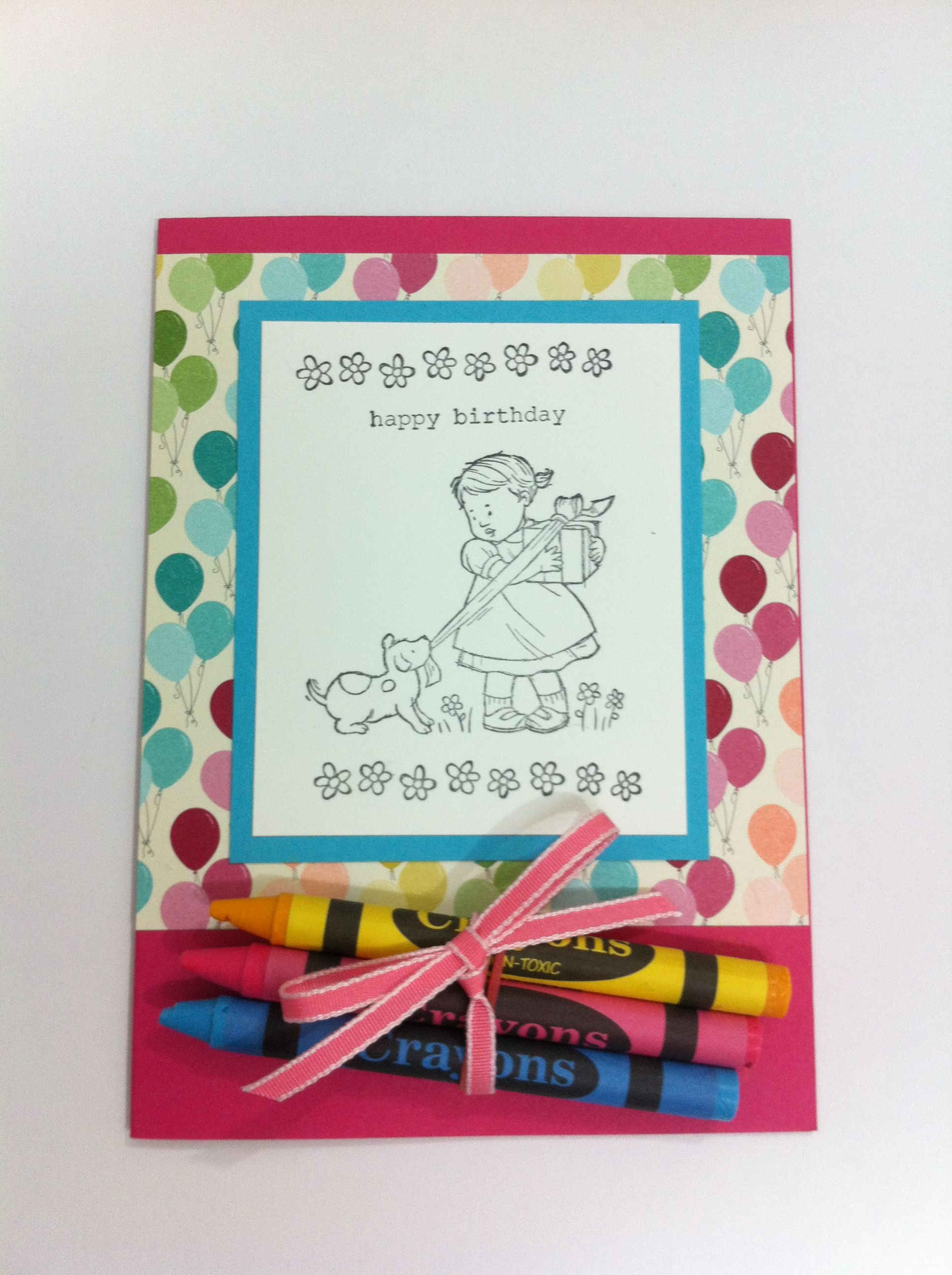 Stampin Up Greeting Card Kids Diy Colour In Card Made For A