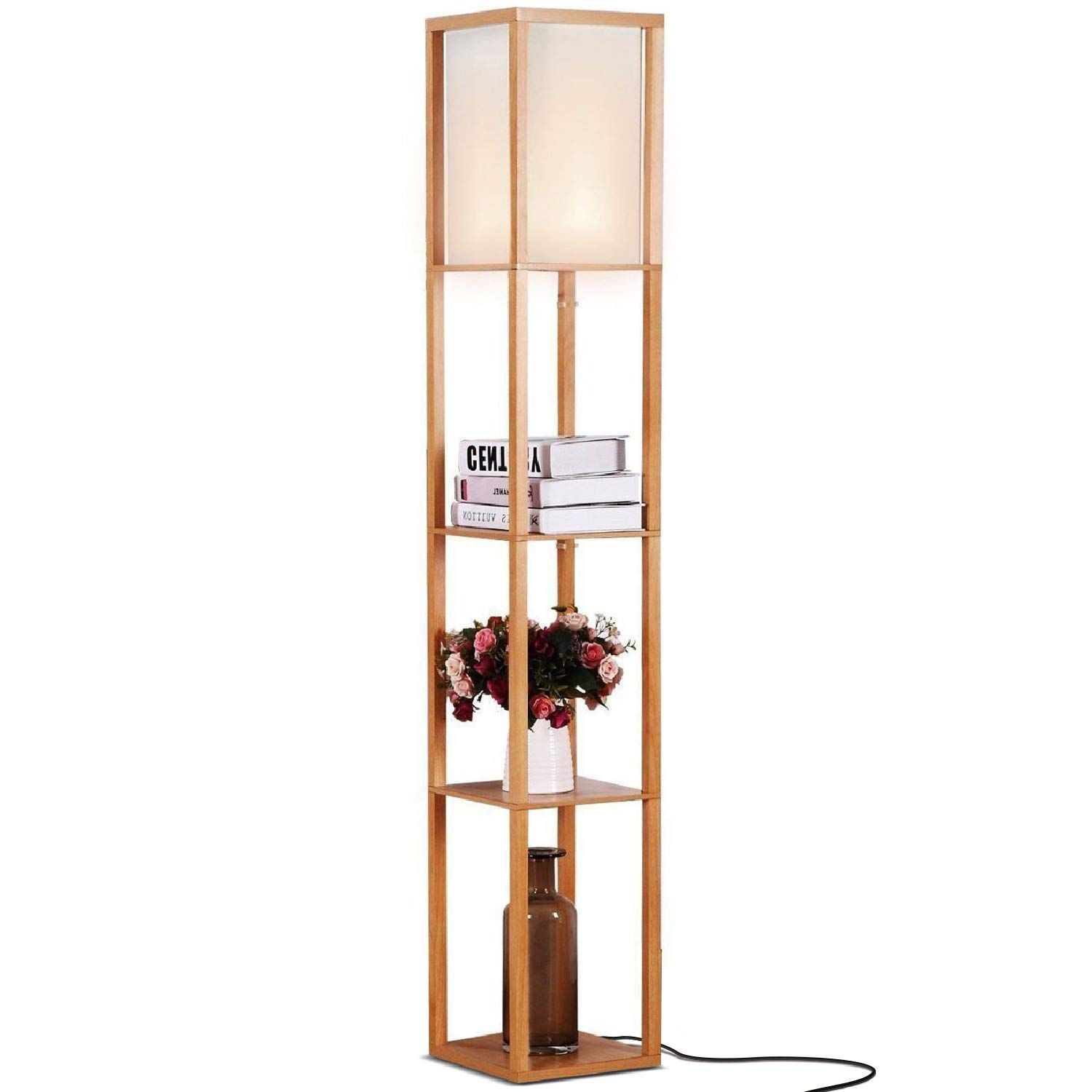 Brightech Maxwell Led Shelf Floor Lamp Modern Asian Style Standing Lamp With Soft Diffused Uplight Wh Floor Lamp With Shelves Wooden Floor Lamps Floor Lamp