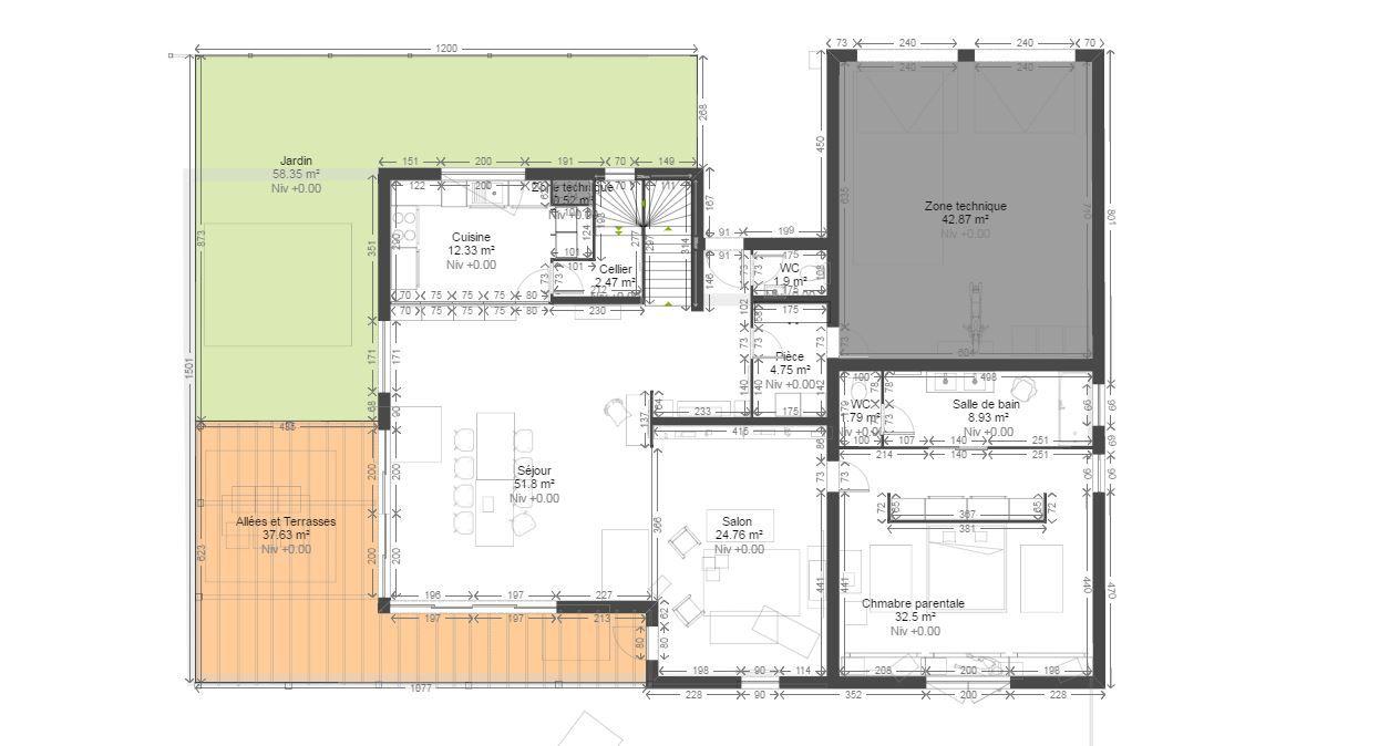 Plan maison de kozikaza vue 2d