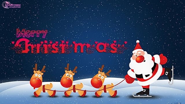 Merry Christmas Wishes With Santa And Deers Cute Cartoon For Kids Santa Claus Hd Wallpaper Santa Claus Wallpaper Funny Christmas Photos Merry Christmas Photos