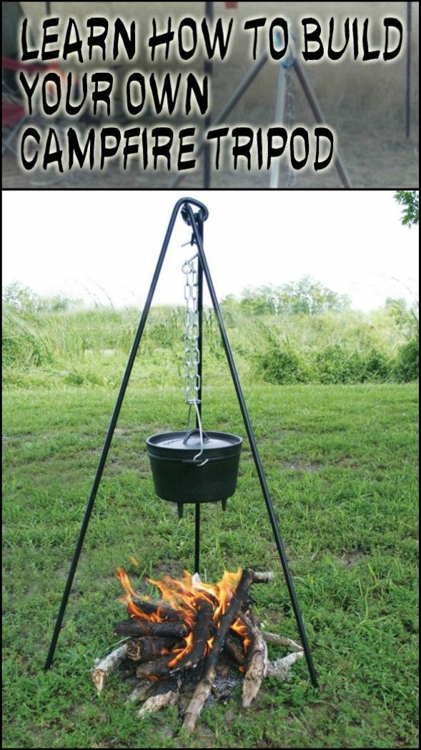 Cook Your Meals Over A Campfire With Ease With This Diy Lightweight Campfire Tripod Campfire Fire Pit Fire Pit Cooking