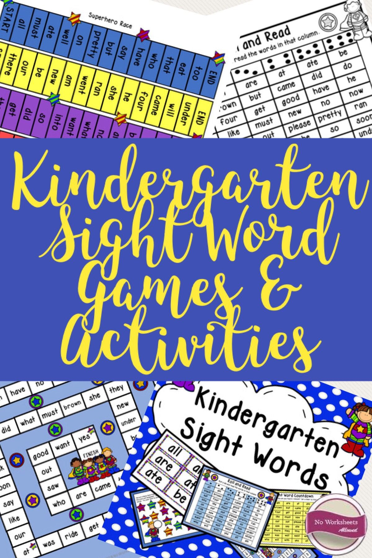Distance Learning Kindergarten Sight Word Games And