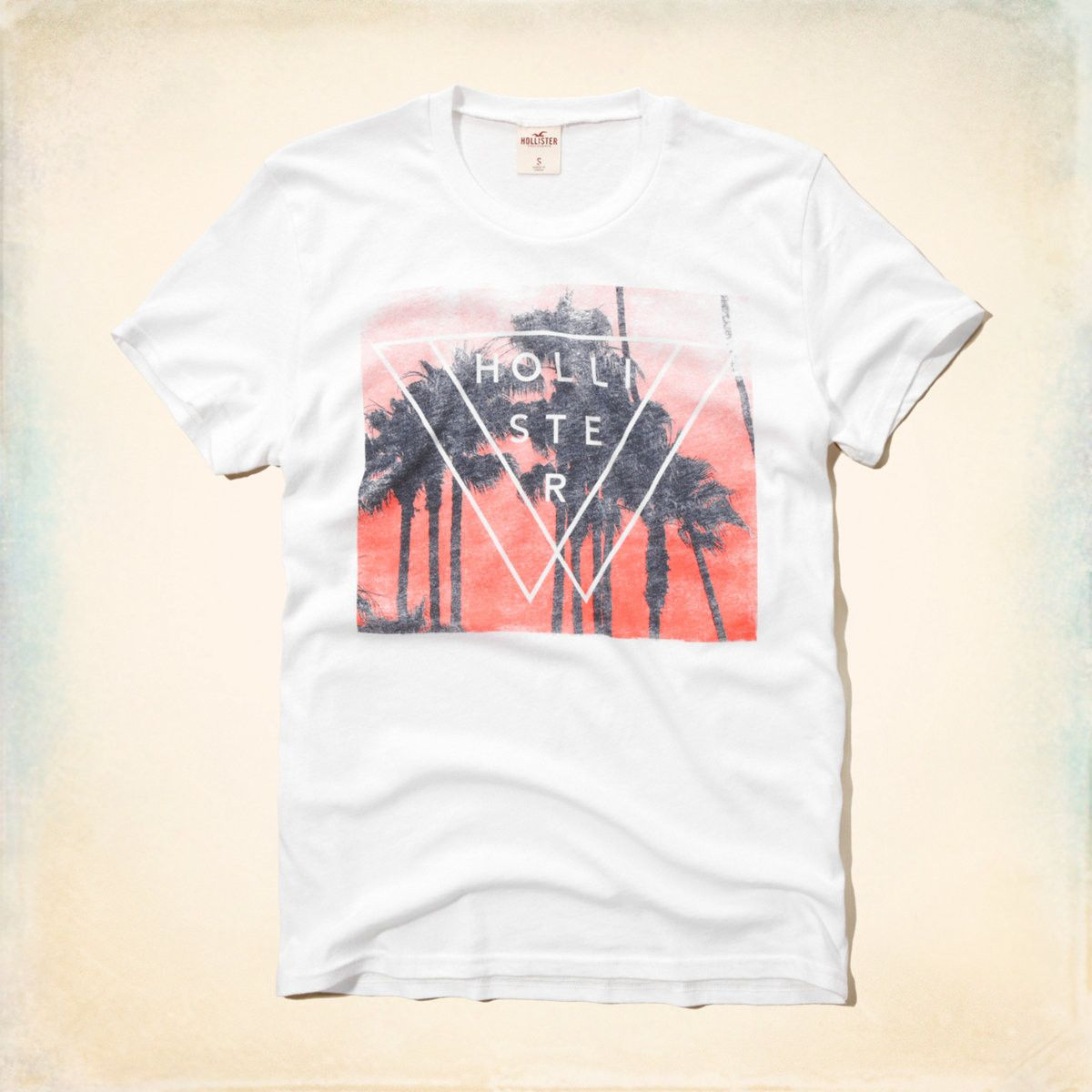 hollister mens vintage logo graphic tshirt white