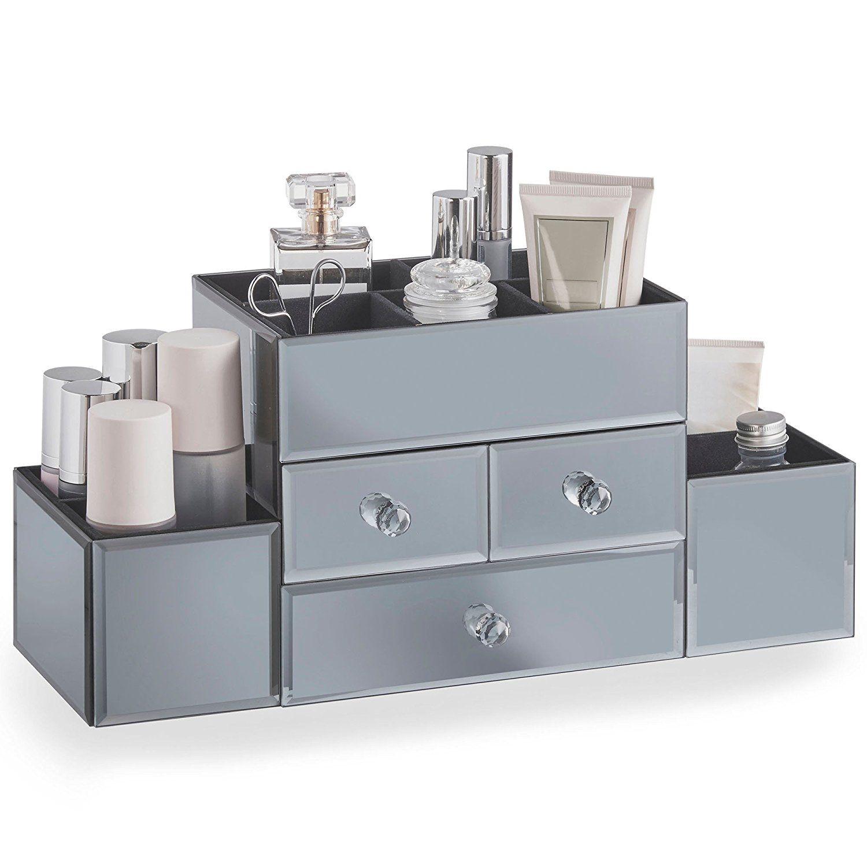 Beautify Smoked Grey Mirrored Glass Jewellery Box & Makeup Organiser with 3  Drawers, 9 Storage