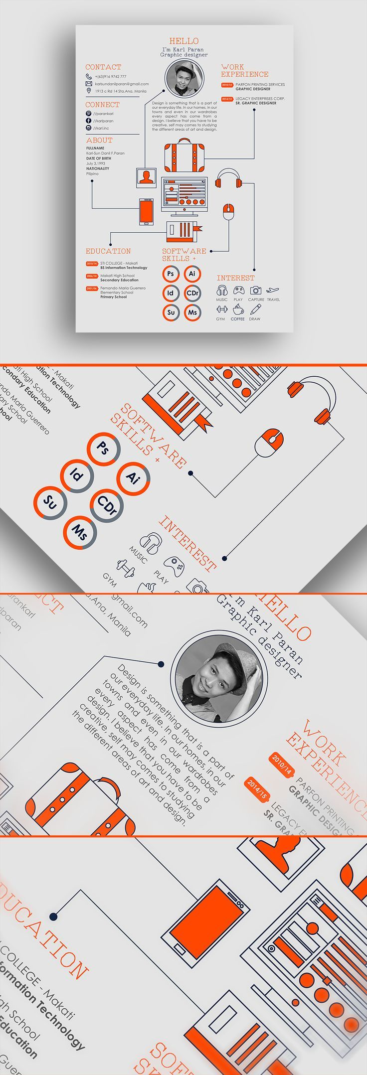 #Resume #Template PSD, AI Illustrator, MS Word. Download Here:  Graphicriver.net/.